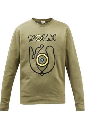 Eye/LOEWE/nature Men Sports Hoodies - Logo-embroidered Cotton-blend Sweatshirt - Mens