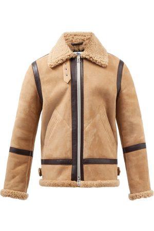 Acne Studios Ian Leather-trim Shearling Jacket - Mens - Light