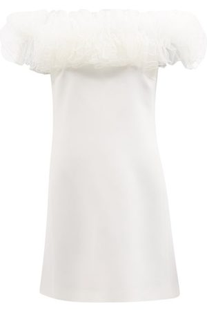 Giambattista Valli Off-the-shoulder Tulle And Crepe Mini Dress - Womens - Ivory