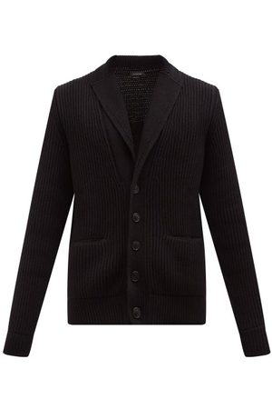 Ermenegildo Zegna Men Blazers - Shawl-lapel Ribbed-cashmere Cardigan - Mens