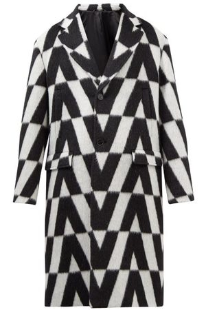 VALENTINO Men Coats - Optical -jacquard Wool Overcoat - Mens