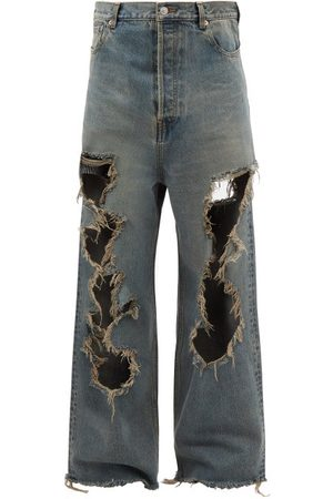 Balenciaga Distressed Wide-leg Jeans - Mens - Grey