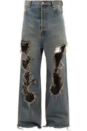 Balenciaga Men Wide Leg - Distressed Wide-leg Jeans - Mens - Grey