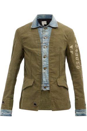 GREG LAUREN Men Denim Jackets - Ollie Cotton-canvas And Denim Jacket - Mens