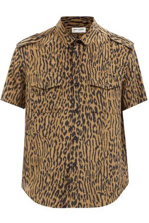Saint Laurent Men Short sleeves - Leopard-print Short-sleeved Silk Shirt - Mens