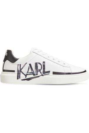 Karl Lagerfeld Logo Leather Lace-up Sneakers