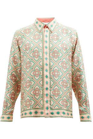 Casablanca Men Shirts - Mosaic-print Silk-twill Shirt - Mens