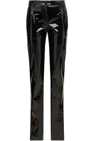 Msgm Women Leather Pants - Patent Faux Leather Pants