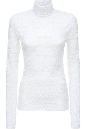Msgm Women High Necks - Cotton Blend Lace Turtleneck Top