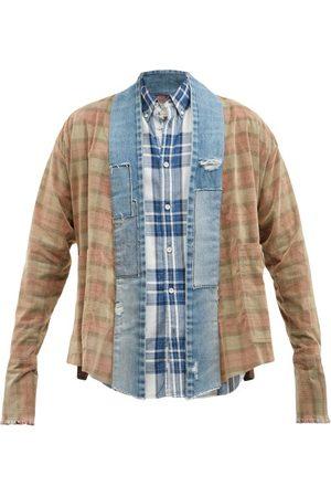 GREG LAUREN Men Jackets - Check Cotton-flannel And Denim Overshirt - Mens