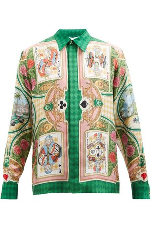 Casablanca Card-print Silk-twill Shirt - Mens