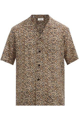 Saint Laurent Leopard-print Silk Short-sleeved Shirt - Mens
