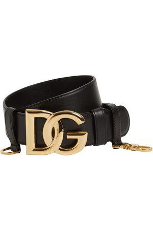 Dolce & Gabbana Women Belts - 4cm Dg Crossed Leather Belt W/snap Hook