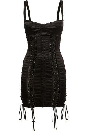 Dolce & Gabbana Women Party Dresses - Stretch Satin Lace-up Mini Dress