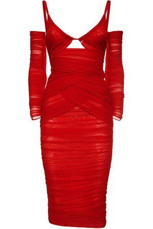 Dolce & Gabbana Stretch Satin Cutout Midi Dress
