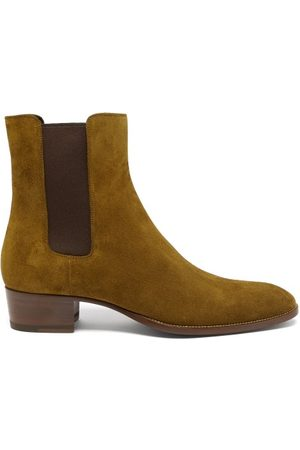 Saint Laurent Wyatt Suede Chelsea Boots - Mens - Tan