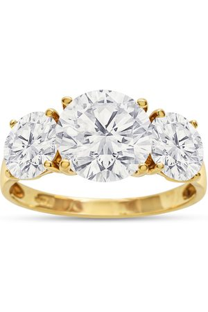 SuperJeweler Women Rings - Previously Owned 4 Carat CZ Three Stone Ring in 14K (3.4 g)