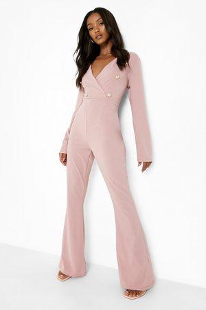 Boohoo Womens Petite Button Detail Wrap Jumpsuit - - 2