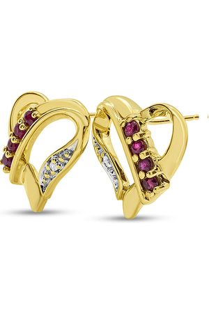 SuperJeweler Previously Owned 1/4 Carat Ruby & Diamond Heart Stud Earrings in (2.5 g) ( by