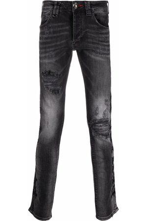 Philipp Plein Men Straight - Logo-plaque straight-cut jeans - Grey