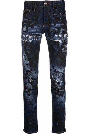 Philipp Plein Men Straight - Monogram-print straight-cut jeans