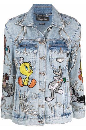 Philipp Plein Women Denim Jackets - Looney Tunes oversized denim jacket