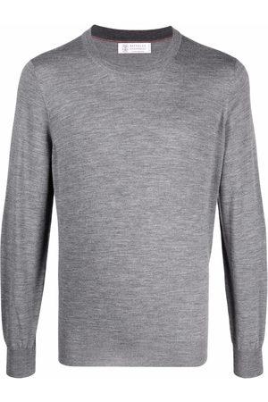 Brunello Cucinelli Men Sweatshirts - Crewneck cashmere-wool jumper - Grey