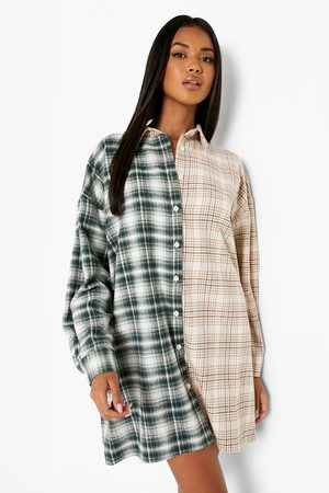 Boohoo Womens Contrast Flannel Oversized Shirt Dress - - 4