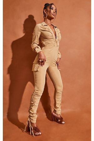PRETTYLITTLETHING Women Casual Dresses - Camel Ruched Shirt Detail Utility Jumpsuit
