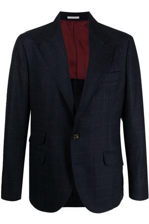 Brunello Cucinelli Square-pattern virgin wool-blend blazer