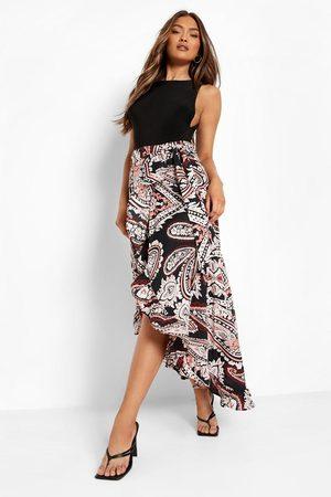 Boohoo Womens Paisley Print Wrap Tie Waist Skirt - - 2