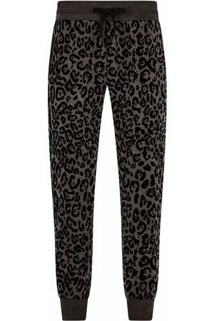 Dolce & Gabbana Men Sweatpants - Leopard-print track trousers - Grey