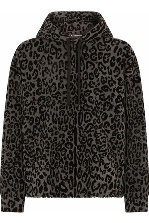 Dolce & Gabbana Men Hoodies - Leopard-print drawstring hoodie