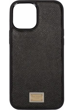 Dolce & Gabbana Women Phones Cases - Logo plate calfskin iPhone 12 Pro case