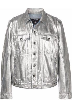 Balmain Logo-embossed metallic finish denim jacket