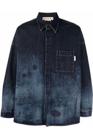 Marni Men Denim - Abstract-print denim shirt