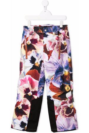 Molo Girls Straight Leg Pants - Floral-print straight-leg trousers
