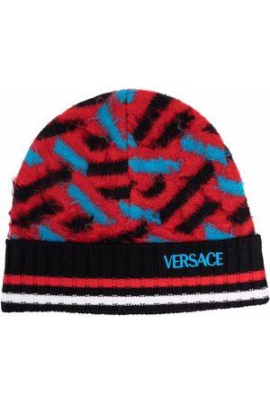 VERSACE Beanies - Colour-block wool beanie