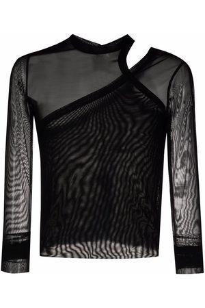 Rick Owens Men T-shirts - Semi-sheer panel T-shirt
