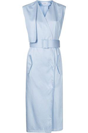 Salvatore Ferragamo Women Midi Dresses - Belted sleeveless wrap-front midi dress