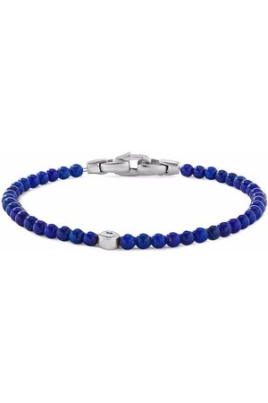 David Yurman Men Bracelets - Silver and sapphire 4mm evil eye lapis lazuli beaded bracelet