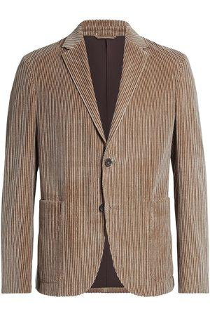 Ermenegildo Zegna Men Blazers - Corduroy single-breasted blazer - Neutrals