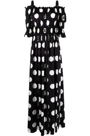 Dolce & Gabbana Women Printed Dresses - Polka-dot print cold-shoulder maxi dress