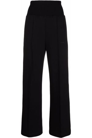 Msgm Women Flat Shoes - Embroidered-logo slip-on palazzo trousers