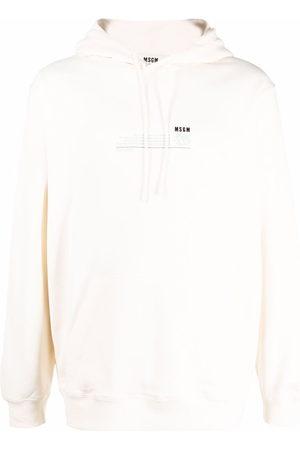 Msgm Men Long sleeves - Chest-logo long-sleeve hoodie - Neutrals