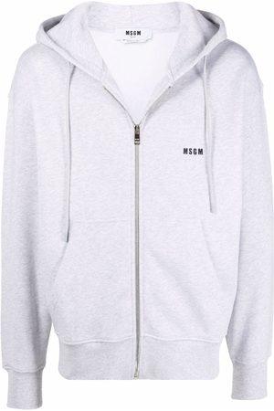 Msgm Men Hoodies - Logo-print drawstring hoodie - Grey
