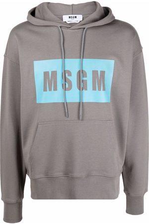 Msgm Men Hoodies - Color-block logo hoodie - Grey