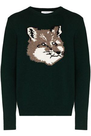 Maison Kitsuné Men Sweatshirts - Intarsia-knit wool jumper