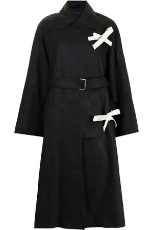 EUDON CHOI Women Coats - Bow-detail belted long coat