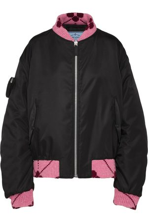 Prada Women Bomber Jackets - Re-Nylon jacquard-trim bomber jacket